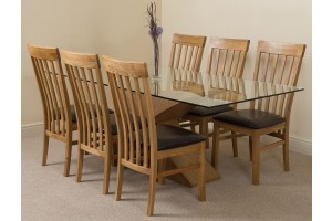 Valencia Oak 200cm Wood and Glass Dining Table with 6 Harvard Solid Oak Dining Chairs [Light Oak and Brown Leather]