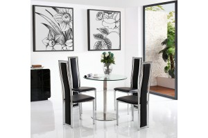Target Round Glass and Steel 80cm Dining Table with 4 Elsa Designer Dining Chairs [Black]