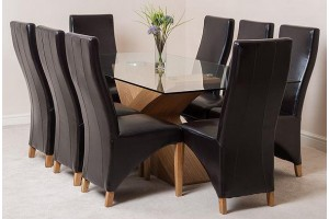 Valencia Oak 200cm Wood and Glass Dining Table with 8 Lola Dining Chairs [Black Leather]