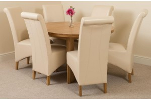 Edmonton Solid Oak Extending Oval Dining Table With 6 Montana Dining Chairs [Ivory Leather]
