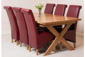 Vermont Solid Oak 200cm-240cm Crossed Leg Extending Dining Table with 6 Montana Dining Chairs [Burgundy Leather]