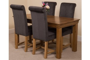 French Chateau Rustic Solid Oak 150cm Dining Table with 4 Washington Dining Chairs [Black Fabric]