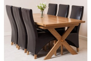 Vermont Solid Oak 200cm-240cm Crossed Leg Extending Dining Table with 6 Lola Dining Chairs [Brown Leather]