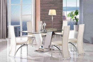 Valentino Glass and Steel Designer Dining Table with 6 Alisa Dining Chair [Ivory]