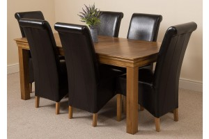 French Chateau Rustic Solid Oak 180cm Dining Table with 6 Montana Dining Chairs [Black Leather]