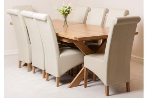 Vermont Solid Oak 200cm-240cm Crossed Leg Extending Dining Table with 8 Montana Dining Chairs [Ivory Leather]