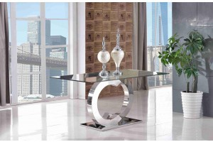 Channel Polished Steel and Glass Dining Table