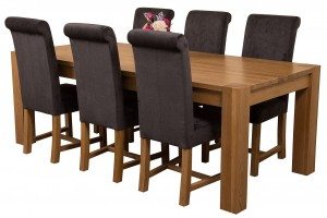 Kuba Solid Oak 220cm Dining Table with 6 Washington Dining Chairs [Black Fabric]
