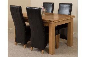 Richmond Solid Oak 140cm-220cm Extending Dining Table with 4 Lola Dining Chairs [Black Leather]