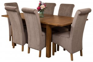 Cotswold Rustic Solid Oak 132cm-198cm Extending Farmhouse Dining Table with 6 Montana Dining Chairs [Grey Fabric]