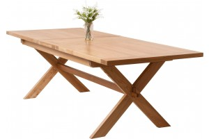 Vermont Solid Oak 200cm-240cm Crossed Leg Extending Dining Table