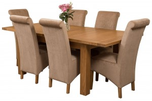 Seattle Solid Oak 150cm-210cm Extending Dining Table with 6 Montana Dining Chairs [Beige Fabric]