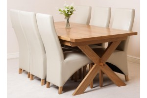 Vermont Solid Oak 200cm-240cm Crossed Leg Extending Dining Table with 6 Lola Dining Chairs [Ivory Leather]