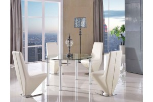 Torino Designer 74cm-120cm Extending Dining Table with 4 Rita Designer Dining Chairs [Ivory]