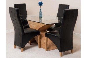 Valencia Oak 160cm Wood and Glass Dining Table with 4 Lola Dining Chairs [Black Leather]