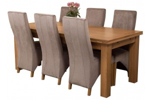 Richmond Solid Oak 200cm-280cm Extending Dining Table with 6 Lola Dining Chairs [Grey Fabric]