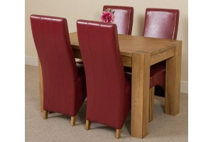 Kuba Solid Oak 125cm Dining Table with 4 Lola Dining Chairs [Burgundy Leather]
