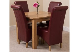 Oslo Solid Oak Dining Table with 4 Montana Dining Chairs [Burgundy Leather]