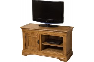 French Chateau Rustic Solid Oak Small TV Cabinet