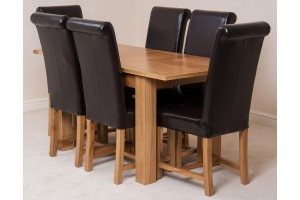 Hampton Solid Oak 120-160cm Extending Dining Table with 6 Washington Dining Chairs [Brown Leather]