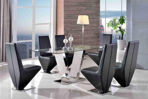 Valentino Glass and Steel Designer Dining Table with 6 Rita Designer Dining Chairs [Black]