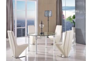 Torino Designer 74cm-120cm Extending Dining Table with 6 Rita Designer Dining Chairs [Ivory]