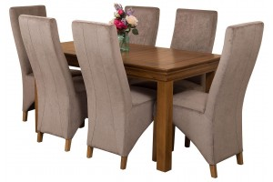 French Chateau Rustic Solid Oak 150cm Dining Table with 6 Lola Dining Chairs [Grey Fabric]