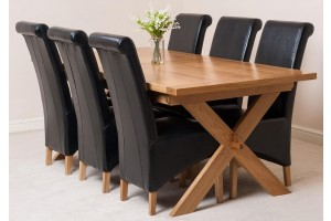 Vermont Solid Oak 200cm-240cm Crossed Leg Extending Dining Table with 6 Montana Dining Chairs [Black Leather]