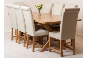 Vermont Solid Oak 200cm-240cm Crossed Leg Extending Dining Table with 8 Washington Dining Chairs [Ivory Leather]