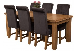 Richmond Solid Oak 200cm-280cm Extending Dining Table with 6 Washington Dining Chairs [Black Fabric]