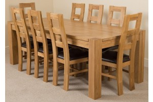 Kuba Solid Oak 220cm Dining Table with 8 Yale Solid Oak Dining Chairs [Light Oak and Brown Leather]