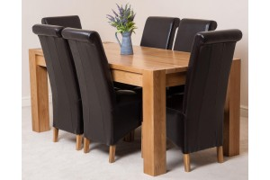 Kuba Solid Oak 180cm Dining Table with 6 Montana Dining Chairs [Brown Leather]
