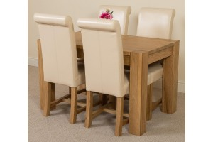 Kuba Solid Oak 125cm Dining Table with 4 Washington Dining Chairs [Ivory Leather]