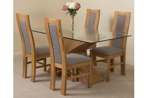 Valencia Oak 160cm Wood and Glass Dining Table with 4 Stanford Solid Oak Dining Chairs [Light Oak and Grey Fabric]