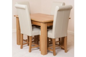Hampton Solid Oak 120-160cm Extending Dining Table with 4 Washington Dining Chairs [Ivory Leather]
