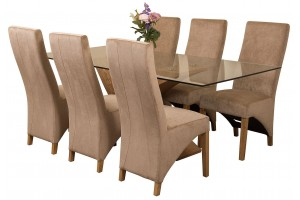 Valencia Oak 200cm Wood and Glass Dining Table with 6 Lola Dining Chairs [Beige Fabric]
