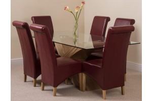 Valencia Oak 200cm Wood and Glass Dining Table with 6 Montana Dining Chairs [Burgundy Leather]