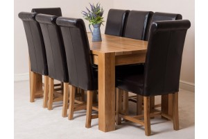Kuba Solid Oak 180cm Dining Table with 8 Washington Dining Chairs [Brown Leather]
