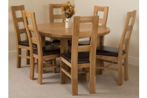 Edmonton Solid Oak Extending Oval Dining Table With  6 Yale Solid Oak Dining Chairs [Light Oak and Brown Leather]
