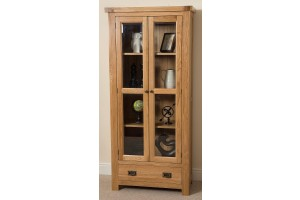 Cottage Light Solid Oak Display Cabinet