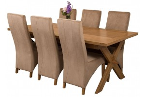Vermont Solid Oak 200cm-240cm Crossed Leg Extending Dining Table with 6 Lola Dining Chairs [Beige Fabric]