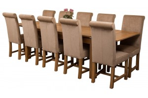 Richmond Solid Oak 200cm-280cm Extending Dining Table with 10 Washington Dining Chairs [Beige Fabric]