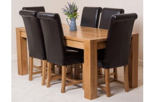 Kuba Solid Oak 180cm Dining Table with 6 Washington Dining Chairs [Brown Leather]