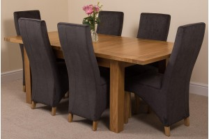 Seattle Solid Oak 150cm-210cm Extending Dining Table with 6 Lola Dining Chairs [Black Fabric]