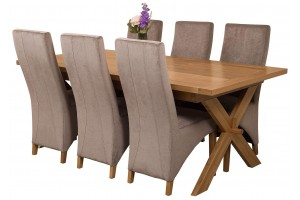 Vermont Solid Oak 200cm-240cm Crossed Leg Extending Dining Table with 6 Lola Dining Chairs [Grey Fabric]