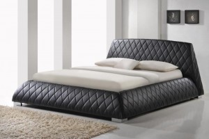 Giovani 5ft Kingsize Designer Black Leather Bed Frame & Memory Foam Mattress