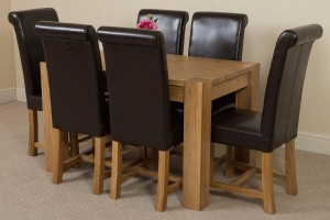 Kuba Solid Oak 125cm Dining Table with 6 Washington Dining Chairs [Brown Leather]
