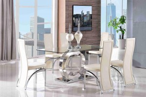 Channel Glass and Polished Steel Dining Table with 6 Alisa Dining Chair [Ivory]