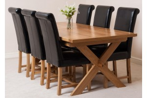 Vermont Solid Oak 200cm-240cm Crossed Leg Extending Dining Table with 6 Washington Dining Chairs [Black Leather]