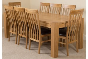 Kuba Solid Oak 220cm Dining Table with 8 Harvard Solid Oak Dining Chairs [Light Oak and Brown Leather]